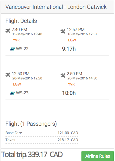 Mistake Deal Canada To London Uk From 269 To 400 Cad