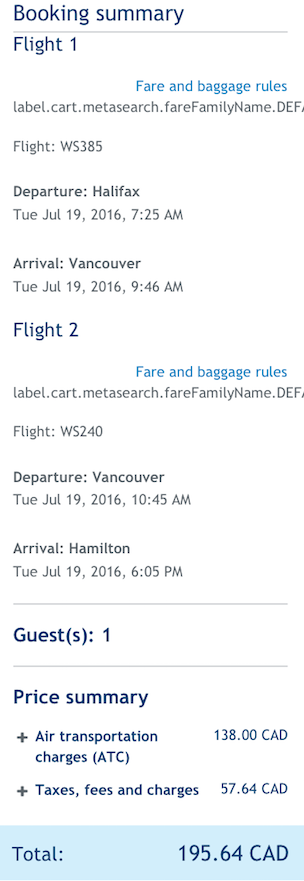 One Way Deal Halifax To Vancouver 194 To 213 Cad