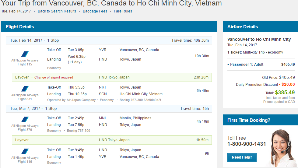 Vancouver Victoria To Vietnam Return Back From